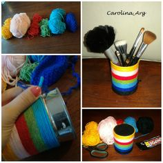 Porta Brochas de maquillaje. Materiales: Lata de conservas, lanas de colores y pegamento.