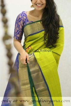 Sarees Kerala Saree Blouse Designs, Saree Blouse Neck Designs, Blouse Patterns, Blue Silk Saree, Indian Silk Sarees, Indian Beauty Saree, Traditional Sarees, Traditional Dresses, Indian Dresses