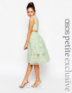Image 1 ofASOS PETITE Prom Dress With Floral Embroidery And Cutout Detail