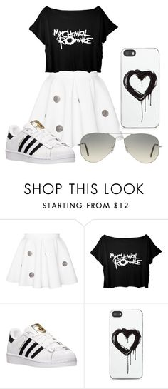 """""""black white"""" by prestypaulina on Polyvore featuring adidas, Zero Gravity, Ray-Ban, women's clothing, women, female, woman, misses and juniors"""