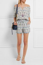 Tory Burch Mosaic printed silk crepe de chine playsuit