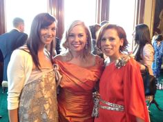 AT GOVERNMENT HOUSE WITH LAURA ANDERSON  Lucy Laurita and Sara Lavigne Pictured With Laura Anderson Chairman of L'Oreal Melbourne Fashion Festival