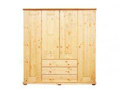 Viki 4 ajtós 3 fiókos válaszfalas natúr fenyő szekrény