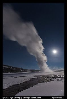 Night view of Old Faithful Geyser in winter with full moon. Yellowstone National Park,Part of gallery of color pictures of US National Parks by professional photographer QT Luong, available as prints or for licensing. Full Moon Pictures, Moon Pics, Old Faithful, Us National Parks, Yellowstone National Park, Travel Advice, Colorful Pictures, Wyoming, Picture Photo