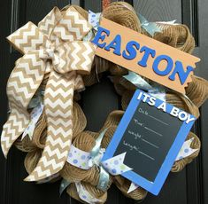 Baby Hospital Wreath with Chalkboard for Boy or by WreathsUrWay