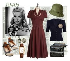 A fashion look from November 2015 featuring vintage cocktail dresses, navy blue cardigan and vegan shoes. Browse and shop related looks. Vintage Inspired Fashion, Retro Fashion, Vintage Fashion, Edwardian Fashion, Retro Mode, Mode Vintage, Vintage Style, 1940s Fashion Women, Vintage Dresses