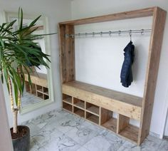 Wonderful Creations Made with Reused Wood Pallets: Wooden pallets can be used over and over again in creating outstanding projects. The best part about these wooden pallets is that they. Pallet Wardrobe, Wardrobe Closet, Hallway Closet, Closet Doors, Wooden Pallets, Closet Organization, Organization Ideas, Pallet Furniture, Home Projects