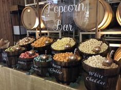 Sweet Buffet Lady rents party decor, event rentals and wedding supplies Wedding Popcorn Bar, Wedding Snacks, Cookie Bar Wedding, Wedding Food Bars, Party Food Bars, Wedding Food Stations, Candy Bar Wedding, Wedding Catering, Wedding Gifts