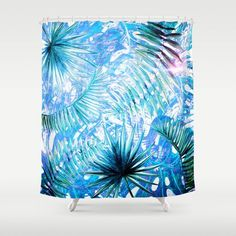 Aloha- Blue abstract Tropical Palm Leaves and Monstera Leaf Garden Shower Curtain by #UtArt