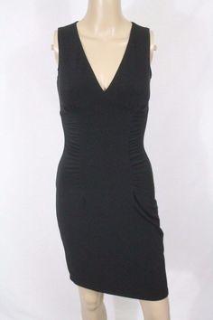 Moda International Ruched Bodycon Dress XS Black Wiggle Party Pinup Cocktail  #ModaInternational #StretchBodycon #LittleBlackDress