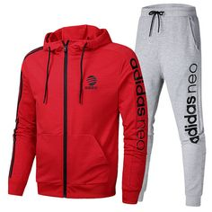 bf0fef84c Spring Summer 2018 Really Cheap Adidas Long Sleeve Suit On Aliexpress Red  Grey