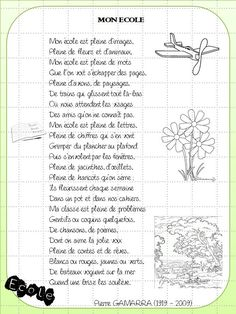"""CM2 : """"Mon école"""" : Une poésie pour la rentrée Ap French, Core French, French Class, Learn French, Education And Literacy, French Education, Teaching Schools, Teaching Kids, French Teacher"""