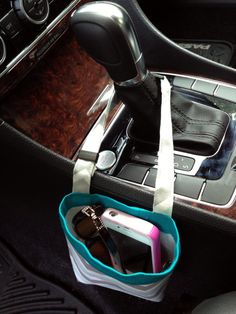 New CELL PHONE CAR Caddy iPhone Case Gray Turquoise by GreenGoose