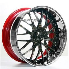 Set4 24 AC Forged Wheels Rims 313 black w/red inner 3 piece
