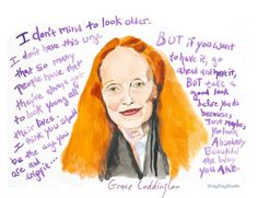 The Lovely and inspiring Grace Coddington. Painted by yours truly and reproduced on high quality art paper with my Epson Printer. (your print is going to be so crisp and bright, with whites whiter tha
