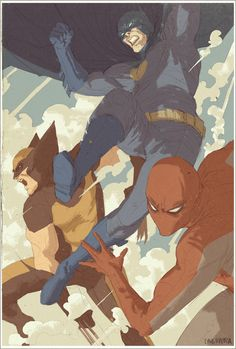 Batman, Wolverine, and Spider-Man Team-up by Dave Rapoza