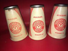 3 Vintage Thatcher Farm Milk Cone Paper Carton Bottle Milton Massachusetts Dairy #milk