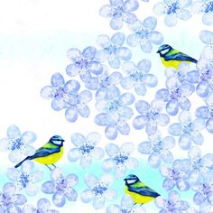 Jane Heyes - Blue birds Birthday Occasion Everyday blue blossom vintage pattern.psd