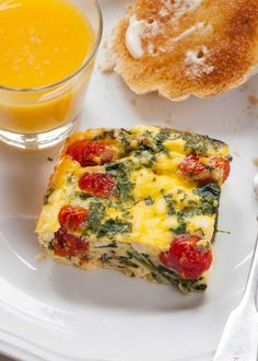 I love this frittata with spinach, tomatoes, and feta cheese! It's a perfect make-ahead breakfast. Bake all in one dish, then reheat squares during the week. Breakfast Bake, Make Ahead Breakfast, Breakfast Casserole, Breakfast Recipes, Breakfast Frittata, Protein Breakfast, Morning Breakfast, Breakfast Ideas, Tomato Egg Bake