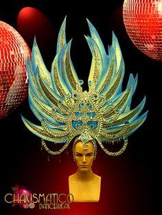 Asian Inspired Silver And Blue Chrystal Studded Drag Queen Headdress Carnival Dress, Pageant Makeup, Mardi Gras Costumes, Real Queens, Mirror Tiles, Showgirls, Headgear, Headdress, Dance Wear