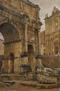 Luigi Bazzani, Italian The Arch of Septimius Severus, Rome, 1900 Ancient Ruins, Ancient Rome, Ancient Art, Ancient History, Architecture Antique, Art Et Architecture, Rome Antique, Art Antique, Roman History