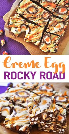 Super Easy, No Bake, Utterly Delicious Creme Egg Rocky Road Recipe. Extraordinary For Bake Sales And Making With Kids, The Best Easter Chocolate Treat This No Fail Chocolate Dessert Recipe Is A Must Make For Easter. Via Tamingtwins Baking Recipes, Cake Recipes, Dessert Recipes, Bake Sale Recipes, Easter Chocolate, Chocolate Desserts, Desserts Ostern, No Bake Treats, Food Cakes