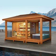 Garden Sauna With Shower And Jacuzzi Spa Sauna, Sauna Shower, Hot Tub Patio, Hot Tub Garden, Sauna House, Sauna Room, Outdoor Sauna, Jacuzzi Outdoor, Saunas