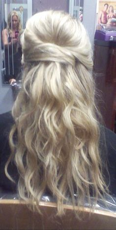 Wedding hair, half up half down, updo by caitlin
