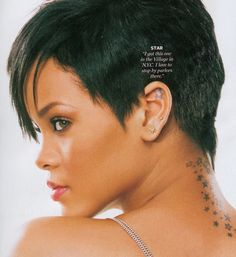 Rihanna Star Tattoo Short Hairrihanna