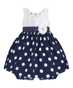 Love this Navy & White Polka Dot Dress & Bloomers - Infant on #zulily! #zulilyfinds