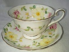Vintage TUSCAN TEA CUP SAUCER Teacup set gilt Bone china England