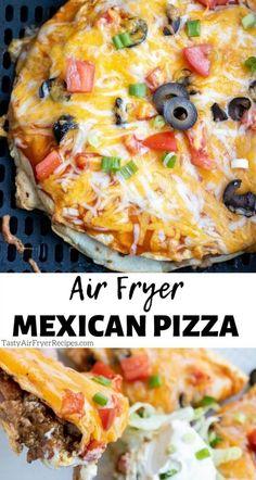 Air Fryer Oven Recipes, Air Frier Recipes, Air Fryer Dinner Recipes, Air Fryer Recipes Ground Beef, Easy Dinner Recipes, Cooking Recipes, Healthy Recipes, Easy Mexican Food Recipes, Healthy Mexican Pizza Recipe