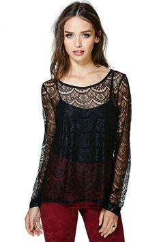 Long Sleeve Lace Floral Sheer Top