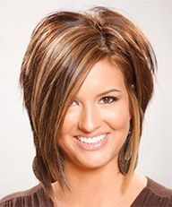 -medium brown w/ caramel highlights  Love everything about this cut & color
