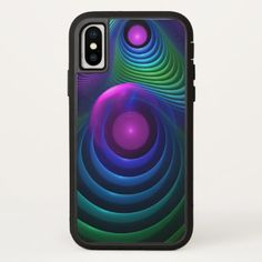 Beautiful Rainbow Marble Fractals in Hyperspace iPhone X Case - marble gifts style stylish nature unique personalize