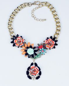 2014 Newest Chunky Chain Luxury Vintage Z Resin Multicolour Gem Mix Stones Flower Statement Necklace