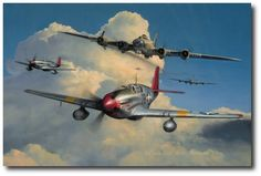 Red Tail Escort by Richard Taylor & Ww2 Aircraft, Military Aircraft, Richard Taylor, Tuskegee Airmen, Airplane Art, Airplane Flying, P51 Mustang, Ww2 Planes, Aviation Art