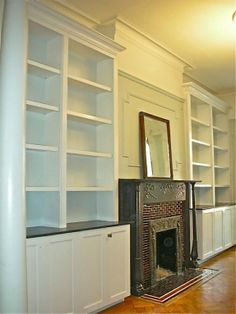 built-in bookcases around the fireplace!