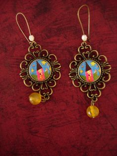 Magic Love  art illustrated earrings with vintage brass by eltsamp, $28.00