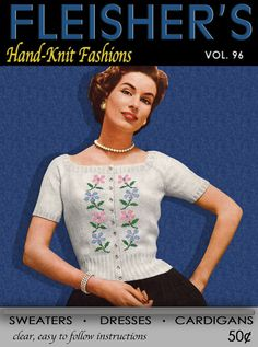 Fleisher's (96) c.1955 Vintage Hand Knitting Fashion Patterns for Sweaters, Dresses and Cardigans