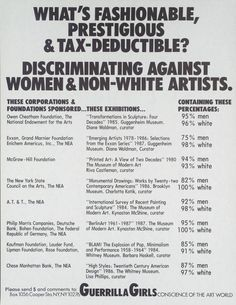 """The Guerrilla Girls, """"What's Fashionable, Prestigious And Tax Deductible? Discriminating Against Women And Non-White Artists"""", 1987, Poster, 22x17 cm"""