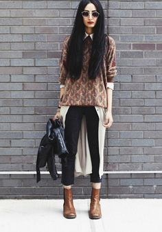Froufrouu Nadia Sarwar Street Style sweater...portifino shirt dress with a vneck thin sweater over - no jeans just tights and boots?