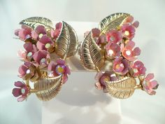 Perky Pink AB Rhinestone Earrings ~ 3-D Flowers & Golden Leaves by MarlosMarvelousFinds on Etsy, $24.99