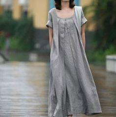 2016 printemps et en été des femmes coton et lin robe européen et américain taille plus lâche occasionnels robe artistique robe robes