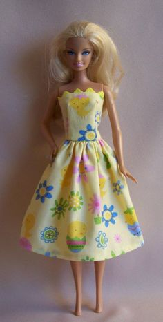 Handmade Barbie Clothes Yellow Spring Easter by PersnicketyGrandma, $5.00