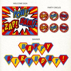 INSTANT DOWNLOAD Superhero Birthday Party by catchmyparty on Etsy