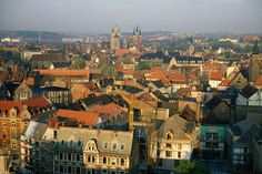 The roof-tops of Erfurt, with Dom St Marien, or St Mary's Cathedral, in the centre mid-ground.