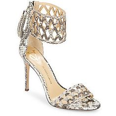 Vince Camuto Signature Mance Snake-Embossed Leather Ankle Cuff Pumps