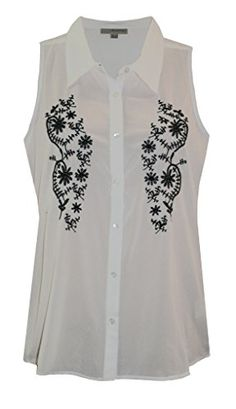 5b7251dbe0cfd4 LADIES WHITE SLEEVELESS EMBROIDERED FLORAL CHIFFON BUTTON UP BLOUSE SHIRT  TOP SIZE 10 Jessica G http