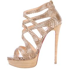 Pre-owned Christian Louboutin Python Sandals (1,485 SAR) ❤ liked on Polyvore featuring shoes, sandals, christian louboutin, heels, high heels, brown, platform shoes, brown high heel sandals, snake print sandals and platform sandals